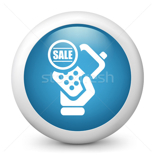 Azul ícone telefone venda Foto stock © Myvector