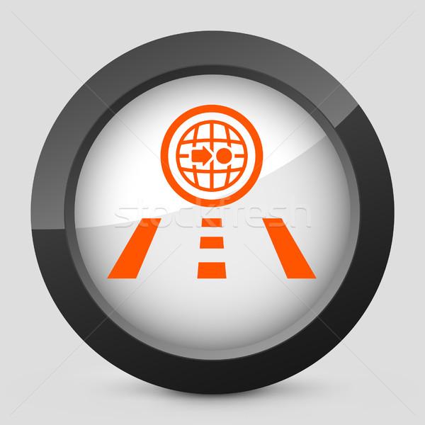 élégante orange icône route carte Photo stock © Myvector