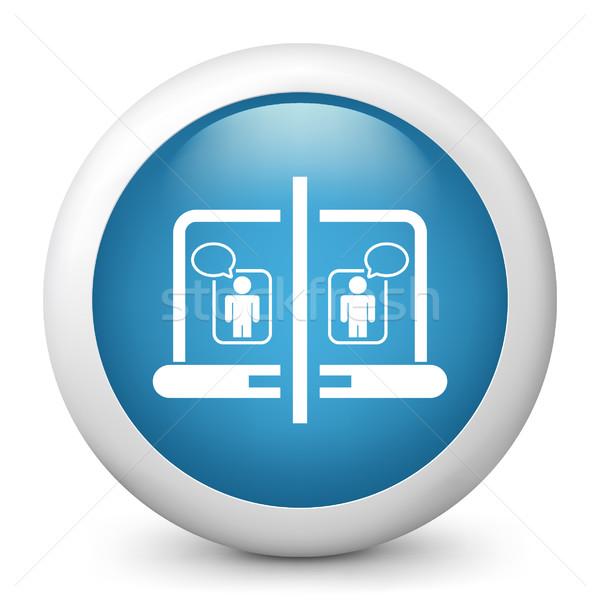Mavi parlak ikon bilgisayar fare ağ Stok fotoğraf © Myvector