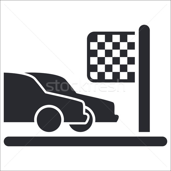 Wyścigowy przylot ikona kubek zwycięstwo Zdjęcia stock © Myvector