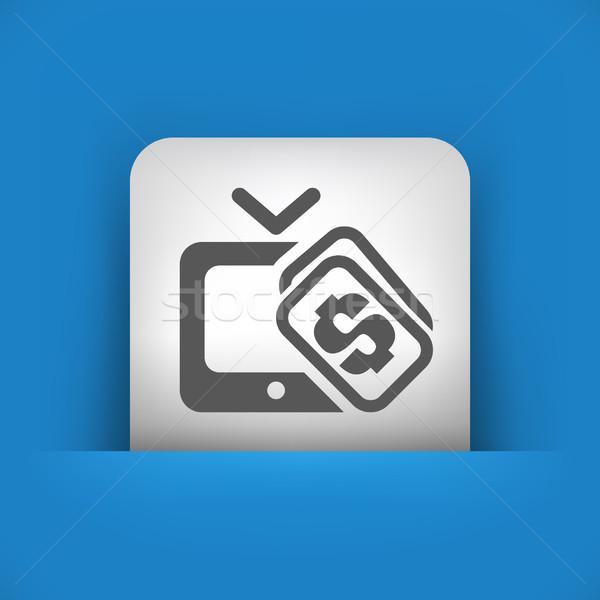 Azul gris icono satélite comprar concepto Foto stock © Myvector