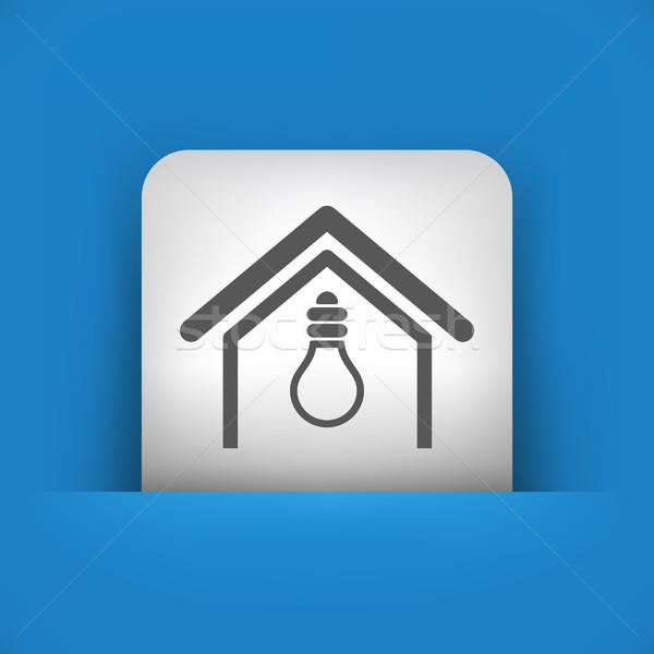 Blauw grijs icon huis elektrische lamp Stockfoto © Myvector