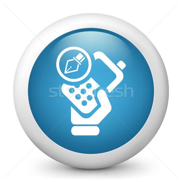 Kék fényes ikon otthon telefon rajz Stock fotó © Myvector