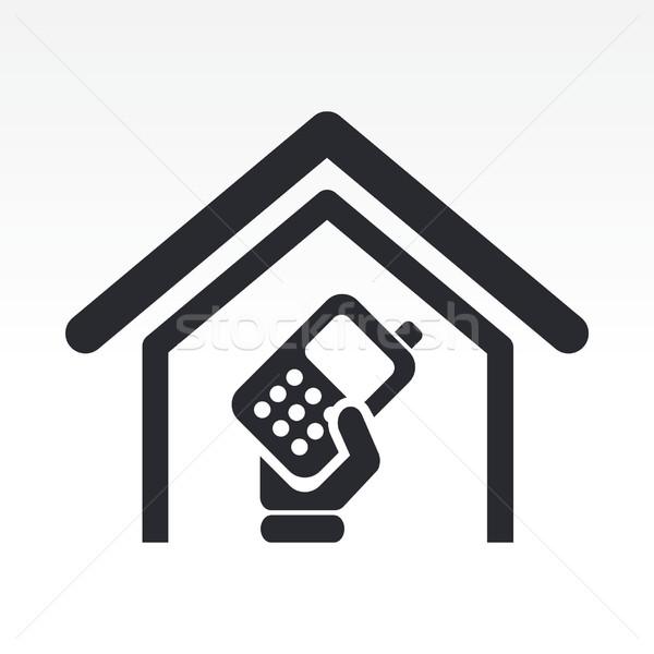 Mobiele telefoon icon home Stockfoto © Myvector