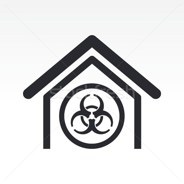 Biológiai veszély ikon ház otthon címke Stock fotó © Myvector