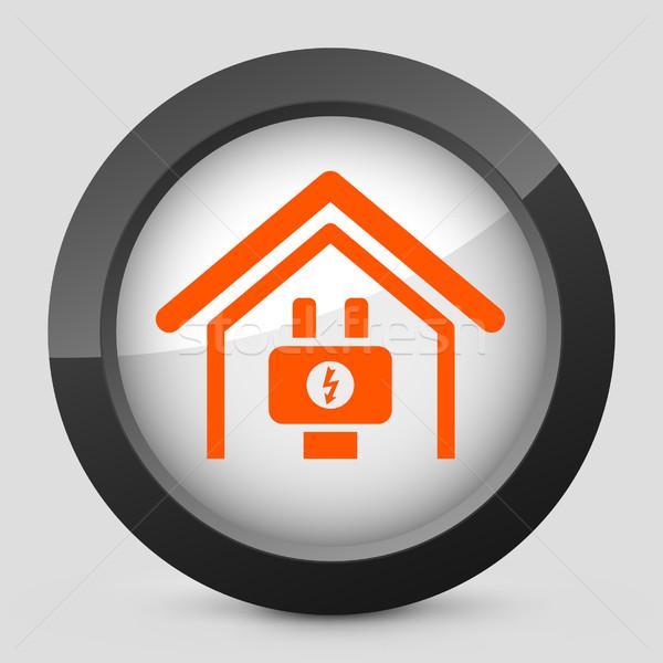 Elegante laranja ícone casa energia Foto stock © Myvector