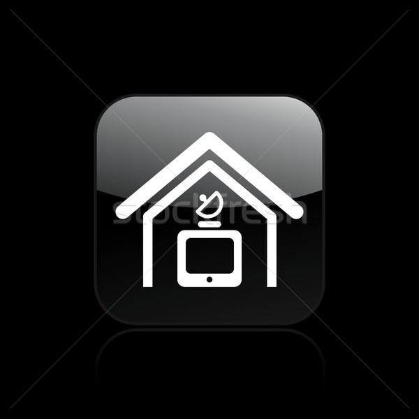 Antenne icône maison design satellite Photo stock © Myvector