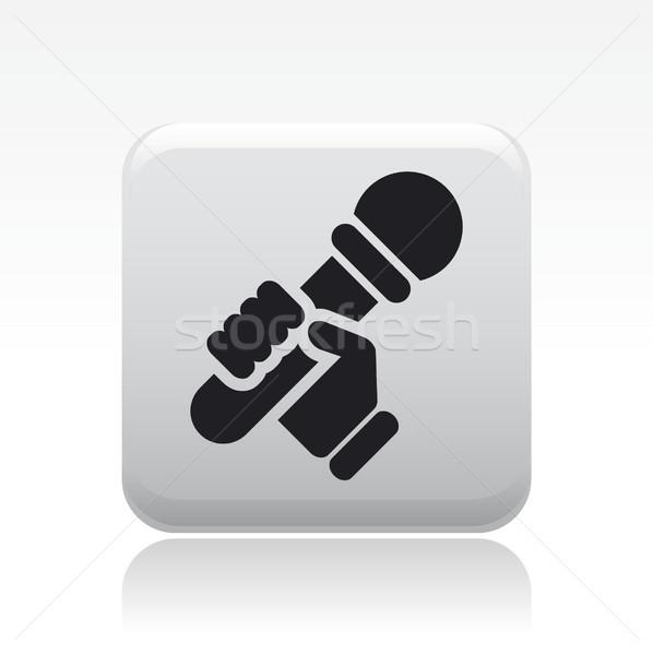 Stockfoto: Karaoke · icon · huis · microfoon · zanger · zingen
