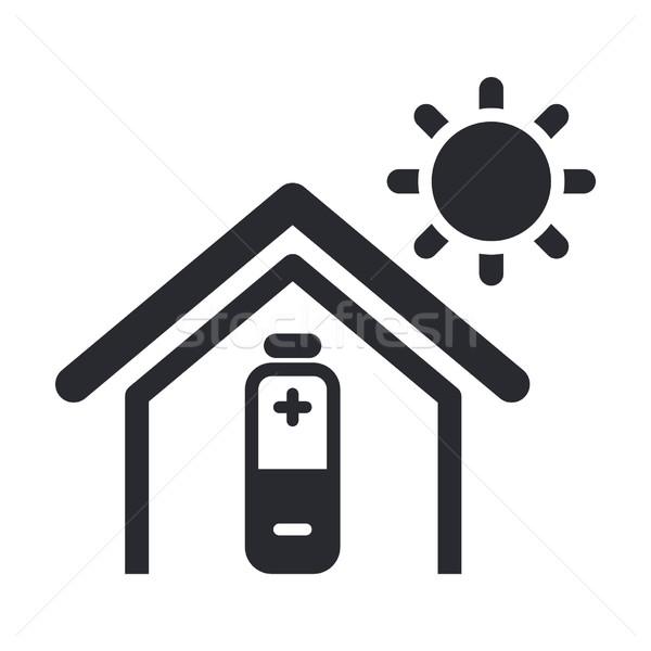 Zonne-energie home icon zon licht energie Stockfoto © Myvector