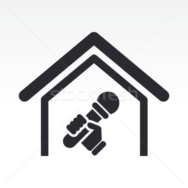 Karaoke icône maison maison chantent vecteur Photo stock © Myvector