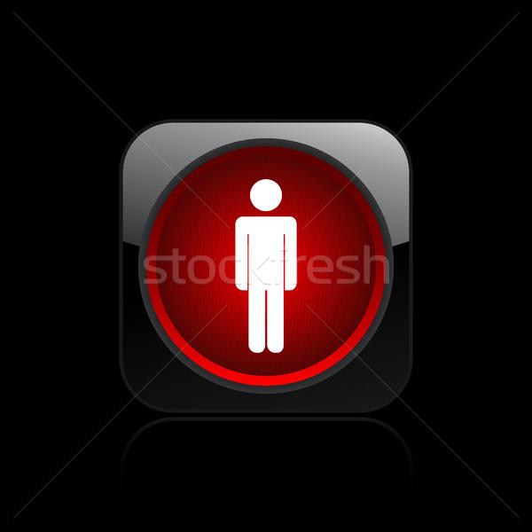 Gyalogos jelzőlámpa ikon piros Stock fotó © Myvector