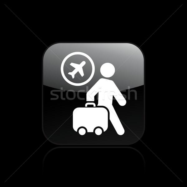Repülőtér ikon utca légy bőrönd levegő Stock fotó © Myvector