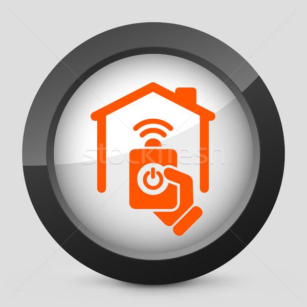Elegancki pomarańczowy ikona domu stop Zdjęcia stock © Myvector