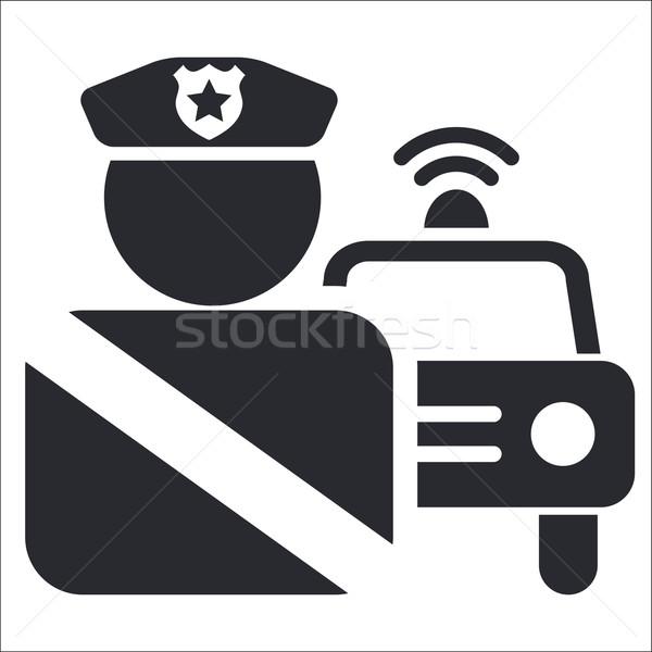 Foto stock: Polícia · ícone · carro · segurança