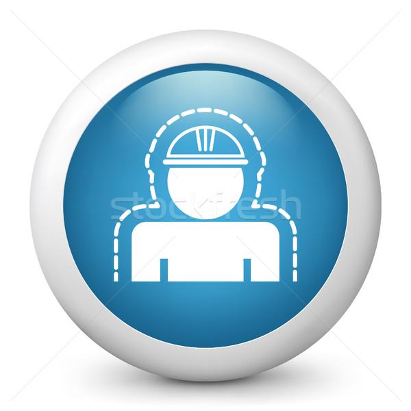 синий икона работу работник фотография Сток-фото © Myvector