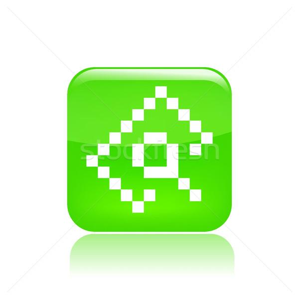 Pixel számítógép ikon számítógép keresés irat lencse Stock fotó © Myvector