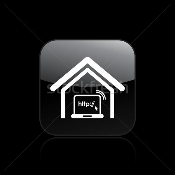 Conexão ícone web computador casa rede seta Foto stock © Myvector