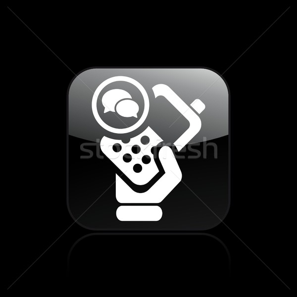 Telefoon chat icon hand mobiele cellulaire Stockfoto © Myvector