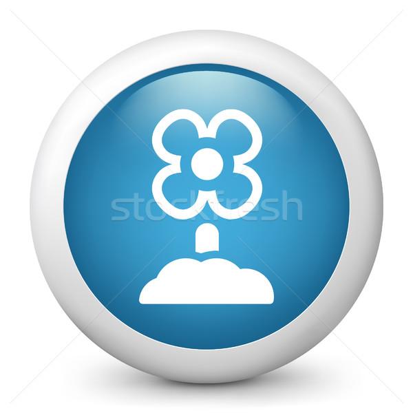 Azul icono jardín Foto stock © Myvector