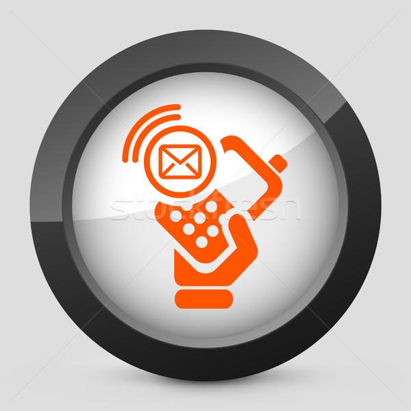 элегантный оранжевый икона телефон почты Сток-фото © Myvector