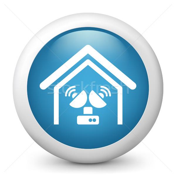 Azul ícone televisão casa Foto stock © Myvector