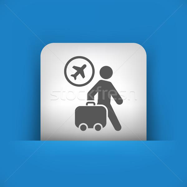 Mavi gri ikon sokak uçmak bavul Stok fotoğraf © Myvector
