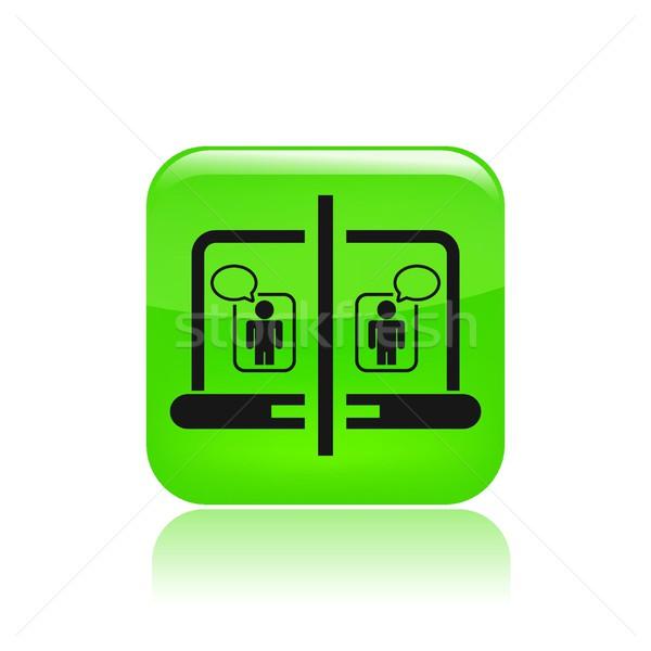 Chat ikon egér hálózat partner beszéd Stock fotó © Myvector