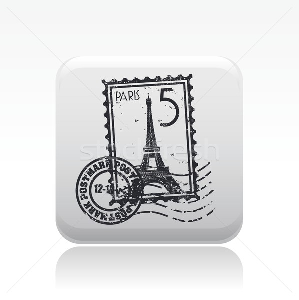Stok fotoğraf: Paris · ikon · posta · damga · Avrupa · kavram