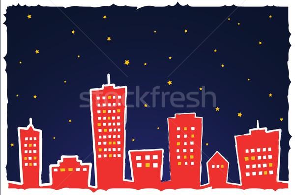 Estilizado noite da cidade casa noite estrela silhueta Foto stock © Myvector