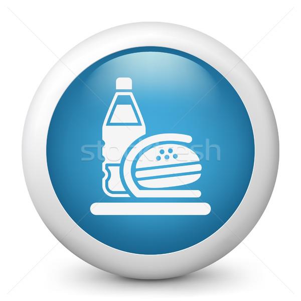 синий икона обеда сумку обед Сток-фото © Myvector