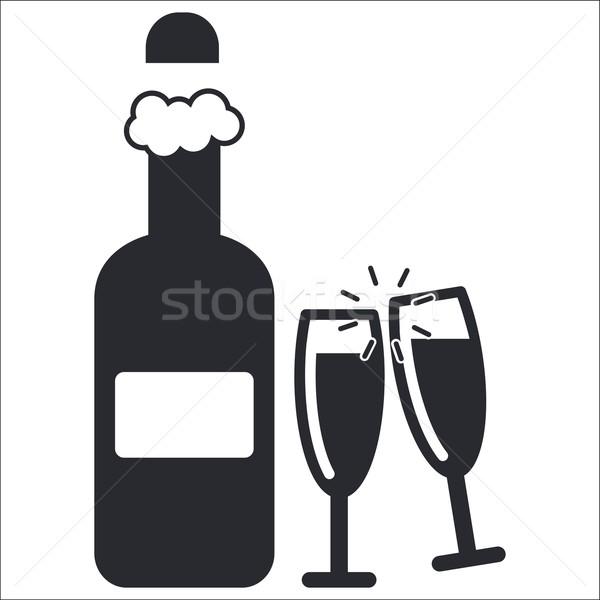 Champanhe ícone festa garrafa álcool vetor Foto stock © Myvector