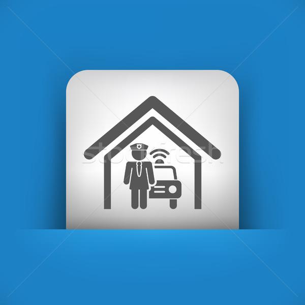 Blau grau Symbol Sicherheit Silhouette weiblichen Stock foto © Myvector