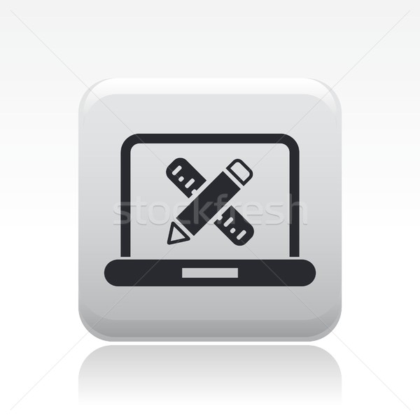 Számítógép terv ikon ceruza számítógépek szoftver Stock fotó © Myvector