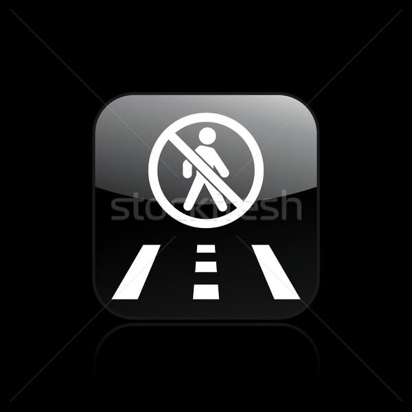 Interdit marche icône route carte façon Photo stock © Myvector