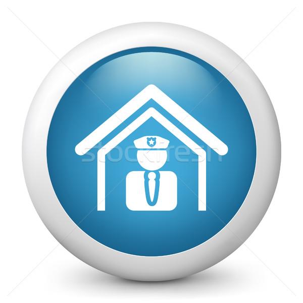 Blau glänzend Symbol Sicherheit militärischen männlich Stock foto © Myvector