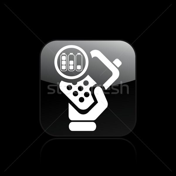 Batterij telefoon icon hand telefoon mobiele Stockfoto © Myvector