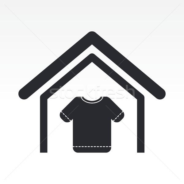 одежду магазине икона дома черный компания Сток-фото © Myvector