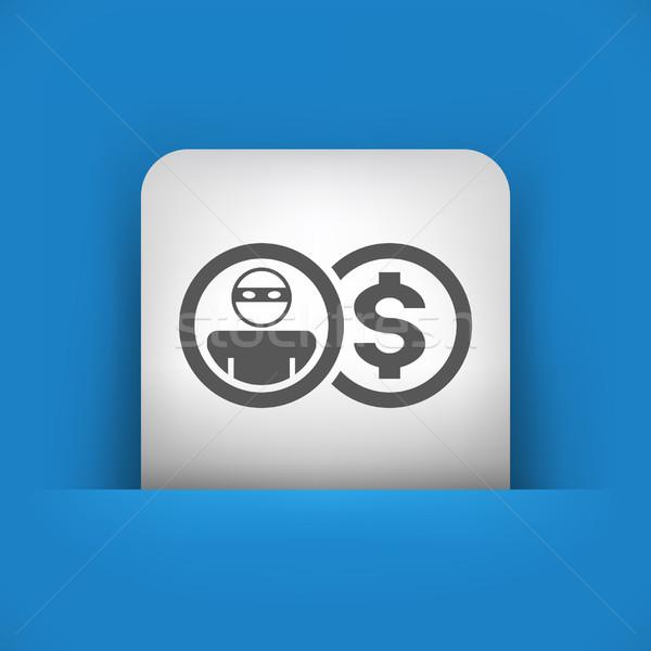 синий серый икона деньги безопасной защиту Сток-фото © Myvector