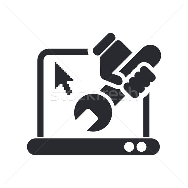 Pc javítás ikon laptop Stock fotó © Myvector