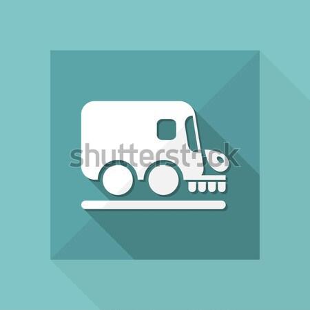 Stockfoto: Blauw · grijs · icon · weg · vrachtwagen · schone