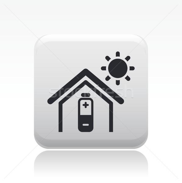 домой икона солнце свет энергии Сток-фото © Myvector
