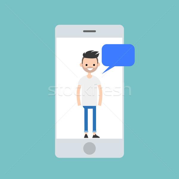 携帯 若い男 スマート 電話 画面 ストックフォト © nadia_snopek