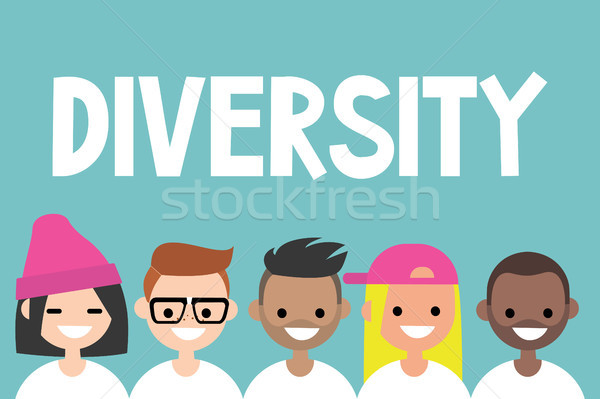 Diversity sign. A group of multinational people / flat vector ed Stock photo © nadia_snopek