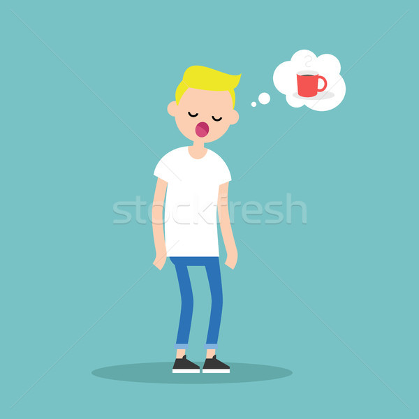 Young exhausted character yawning and thinking about a cup of co Stock photo © nadia_snopek
