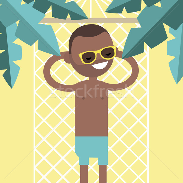 Young black character lying in a hammock under the palm trees. T Stock photo © nadia_snopek