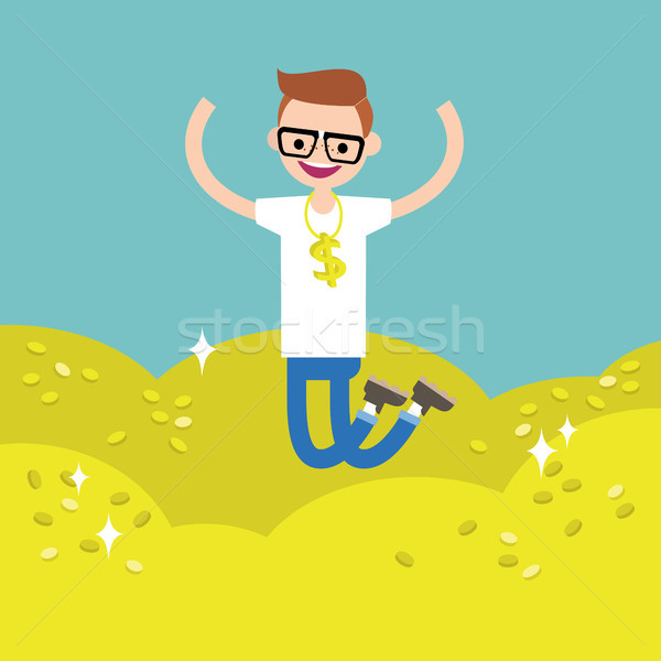 Wallow in money conceptual illustration: young lucky geek jumpin Stock photo © nadia_snopek