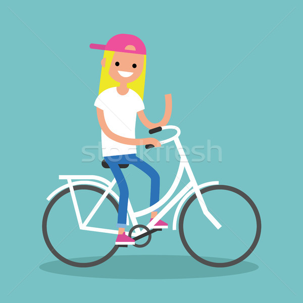 Young blond girl riding a bike and waving her hand / editable fl Stock photo © nadia_snopek