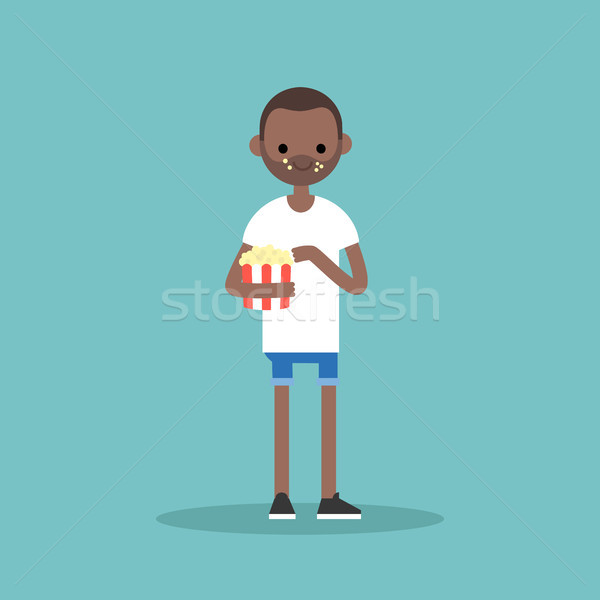 young black man chewing popcorn / full length character. flat ve Stock photo © nadia_snopek