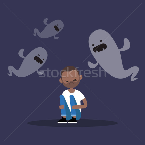 Scared black man surrounded by ghosts / flat editable illustrati Stock photo © nadia_snopek