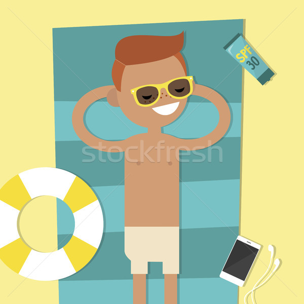 Young character lying on the beach. Top view / flat editable vec Stock photo © nadia_snopek